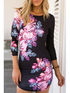 Crisscross Back Large Flower Bodycon Dress - Black M