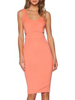 Solid Color Cut Out Zipper Scoop Neck Sleeveless Dress - Pink L