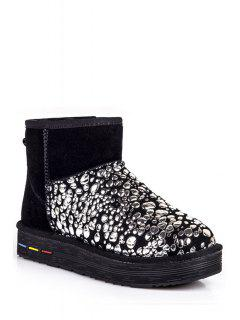 Bubble Pattern Suede Splicing Snow Boots - Silver 40