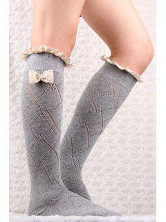 Bow Lace Hollow Out Knitted Stockings - Light Gray