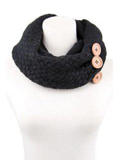 Button Knitted Neck Warmer - Black