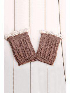Lace Herringbone Knitted Boot Cuffs - Khaki