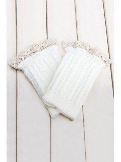 Lace Herringbone Knitted Boot Cuffs - White