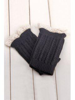 Lace Herringbone Knitted Boot Cuffs - Deep Gray