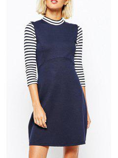 Stripe Spliced Stand Neck 3/4 Sleeve Dress - Navy Blue Xl