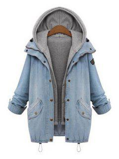 Hooded Drawstring Boyfriend Trends Pockets Jean Coat - Light Blue Xl