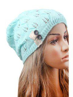 Button Lace Hollow Out Knitted Beanie - Mint Green