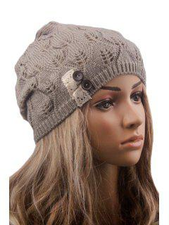 Button Lace Hollow Out Knitted Beanie - Light Gray
