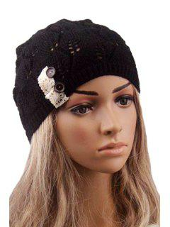 Button Lace Hollow Out Knitted Beanie - Black