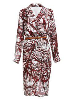 Tropical Print V Neck Long Sleeve Dress - Dark Red 2xl