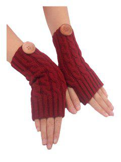 Button Hemp Flowers Knitted Fingerless Gloves - Claret