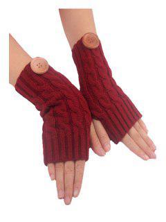 Button Hemp Flowers Knitted Fingerless Gloves - Claret