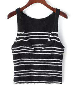 Striped Short Plunging Neck Sweater Tank Top - Black