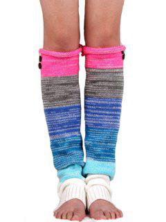 Button Mixed Color Knitted Leg Warmers - Rose