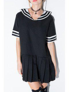 Stripe Spliced Sailor Collar Short Sleeve Dress - Black M