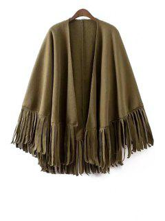 Solid Color Tassels Batwing Sleeves Cape Coat - Army Green