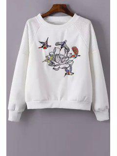Bird Embroidered Long Sleeve Sweatshirt - White S