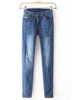 Blue Skinny Frayed Jeans - Blue L