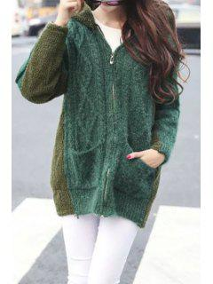 Thicken Faux Cashmere Spliced Hooded Long Sleeves Cardigan - Green