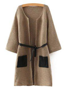 Pockets Patchwork Sashes Collarless Long Sleeves Cardigan - Brown M