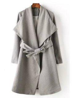 Gray Worsted Belt Turn Down Collar Coat - Gray M