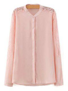 Openwork Lace Spliced Solid Color Chiffon Blouse - Shallow Pink L