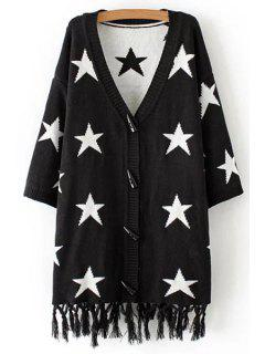 Stars Pattern Plunging Neck Long Sleeve Cardigan - Black L