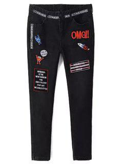 Appliqued Narrow Feet Pencil Jeans - Black L