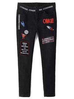 Appliqued Narrow Feet Pencil Jeans - Black L
