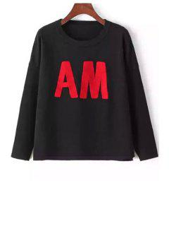 Letters Pattern Long Sleeve Jumper - Black