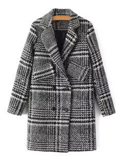 Double-Breasted Houndstooth Coat - Gray L