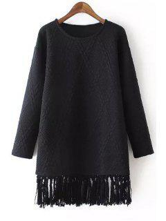 Tassels Spliced Long Sleeve Dress - Black S