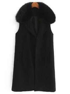 Faux Fur Collar Wool Waistcoat - Black S