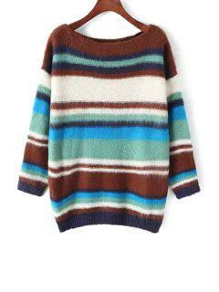 Slash Neck Color Block Sweater - Coffee