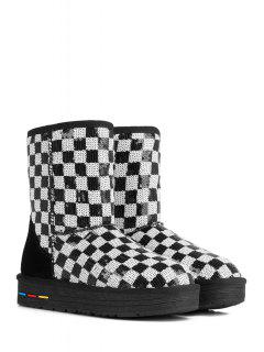 Sequined Color Block Checked Snow Boots - White And Black 40