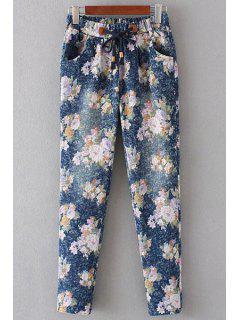 Floral Print Denim Women's Pockets Pants - Pink L