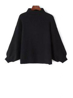 Stand Neck Puff Sleeve Sweater - Black