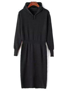 Hooded Pure Color Sweater Dress - Black