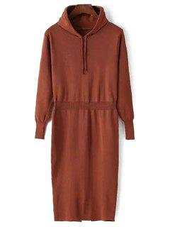 Hooded Pure Color Sweater Dress - Coffee