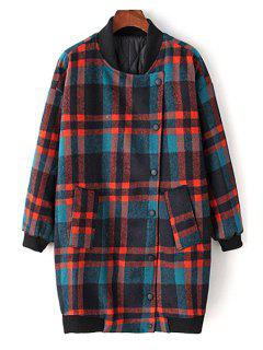 Checked Color Block Stand Collar Long Sleeves Coat - L