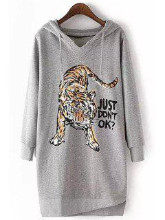 Tiger Print Long Sleeve Pullover Hoodie - Gray M