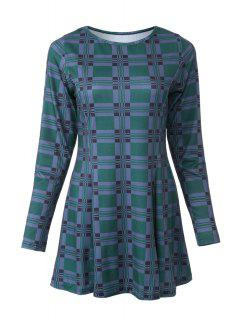 Plaid Print Round Neck Long Sleeve Dress - Green M