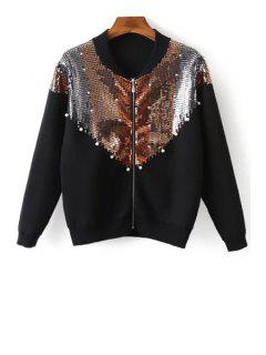 Round Neck Sequined Beading Cardigan - Black