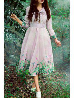 Bird Print V Neck Long Sleeve Dress - Pink Xl