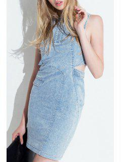 Bleach Wash Bare Midriff Denim Dress - Light Blue S