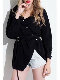 3/4 Sleeve Single-Breasted Asymmetrical Shirt - Black M
