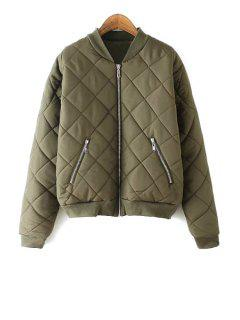 Argyle Pattern Solid Color Stand Collar Thicken Coat - Army Green L