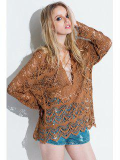 Plunging Neck Hollow Out Lace Dress - Brown