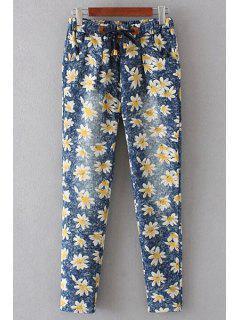 Denim Floral Print Women's Pockets Pants - Blue M