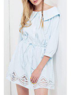 Boat Neck Drawstring Design Dress - Blue L
